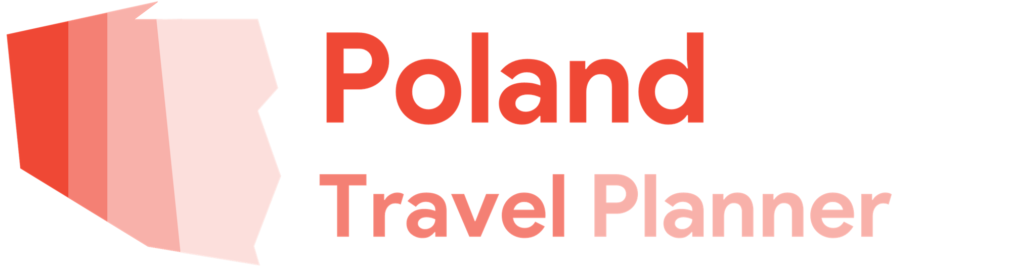 Poland Travel Planner Logo with striped outline of Poland