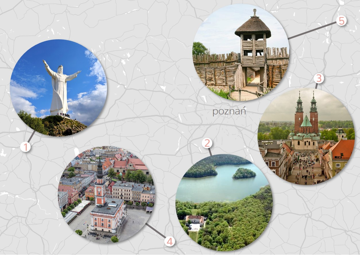 top 5 day trips from Cracow on greyscale simple map