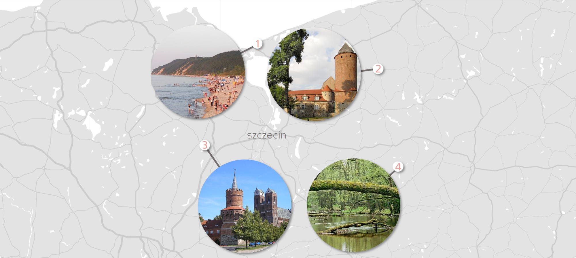 top 5 day trips from Warsaw on greyscale simple map